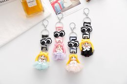 Key Rings For Kids Canada - 12pcs Set Cartoon Anime Sailor Moon Keychains With Ribbon LOVE Printed Key Holder Key Ring Pendants Gift For Kids D538LR