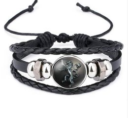 Chinese  NingXiang Game of Thrones House Stark Wolf Glass Cabochon Leather Bracelets Multi Layers Weave Handmade Punk Black Men Bracelets manufacturers