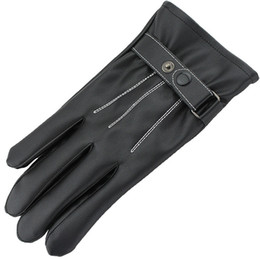 Leather Motorcycle Gloves Wholesale NZ - New Luxury Leather Windproof Gloves for Bicycle Motorcycle Outdoor Pop Touch Screen Mittens Top Quality Fashion Brand Winter Warm Gloves