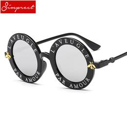 eb5700e102 SIMPRECT 2018 Retro Round Sunglasses Women Bee Letters UV400 Mirror Sun  Glasses Brand Designer Vintage Lunette De Soleil Femme