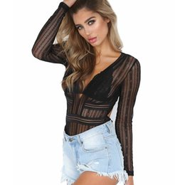 Yellow bodYsuits online shopping - 6 Colors Sexy V Neck Lace Bodysuits Women Overalls Female Jumpsuits Semi Sheer Bandage Playsuits Skinny Clubwear Party Bodysuit