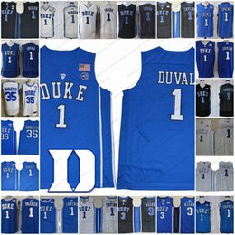cdb2b99bb Duke Blue Devils  1 Trevon Duval 1 Harry Giles 3 Grayson Allen 35 Marvin  Bagley III white black royal blue NCAA Basketball Jerseys S-3XL