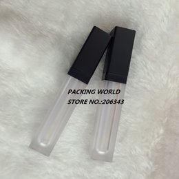 Venta al por mayor de Forma de cuadrado de 6 ml de brillo de labios de tubo de crema de labios helado con tapa negra para aceite de labios / brillo de labios embalaje cosmético