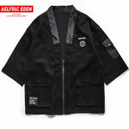 Discount japanese man s kimono - Aelfric Eden Mens Japanese Kimono Jackets Male Harajuku Front Pockets Jacket Streetwear 2018 Hip Hop Fashion Casual Coat