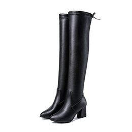 $enCountryForm.capitalKeyWord UK - Women High Boots Over The Knee Booties Woman 2018 Lace Up Sexy High Heels Shoes Lace Up Winter Boots Warm