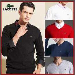 Venta al por mayor de S-3XL nuevo suéter de cocodrilo polo 1273 # suéter de manga larga suéter de los hombres de manga larga polo de algodón de los hombres ropa de los hombres calientes