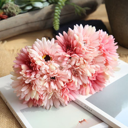 pink gerbera flower Australia - Daisy 7 Branch 1 Bouquet Slik Artificial Gerbera Flower Real Touch Fake Flower Chrysanthemum Flores Home Wedding Decoration