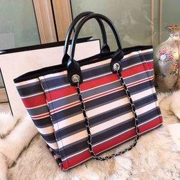 Stripe canvaS tote beach bagS online shopping - High Quality Women Canvas handbag Casual Travel women s Crossbody stripe Beach leisure Bag Ladies Messenger Shopping bags