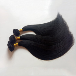Discount 28inch peruvian straight hair - Supply High quality Mongolian Brazilian Virgin Hair weaves Silky Straight 8-28inch Natural black Human hair weft Peruvia