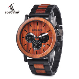 Weide Watch Men Military Australia - BOBO BIRD Wooden Men Watches Relogio Masculino Top Brand Luxury Stylish Chronograph Military Watch A Great Gift for Male OEM C18110601