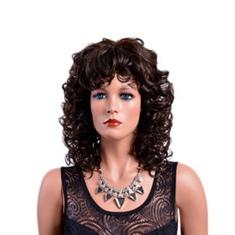 China Xiu Zhi Mei Hot Sell Brown Curly Synthetic Wigs with Bangs Afro Natural Hair Full Medium Ombre Wig for Women cheap brown curly afro wig suppliers