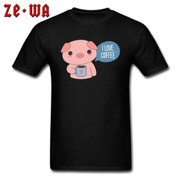 boyfriends shirt Australia - Cute Pig Loves Coffee Tee Shirt Men Black T Shirt Street Fashion Guys Tops Cotton T Shirts Cartoon Custom Design Boyfriend Gift