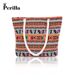 striped canvas tote bags wholesale UK - Perilla Bags For Women 2018 Canvas Handbag Striped Clutch Shoulder Beach Summer Bag Bohemian Style Multiple Shopping Big Bag