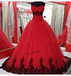 $enCountryForm.capitalKeyWord NZ - Black Red Wedding Dresses Plus Size Vestidos de Noivas Lace China Bridal Gowns Corset Back Gothic Wedding Gown Puffy Trouwjurk