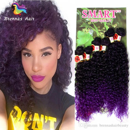 Smart Hair Australia - High Quality Smart Synthetic Hair Weaves 6pcs Lot Full Head Sew In Hair Extensions Dark Brown Burgundy Deep Wave Jerry Curly Hair Bundles