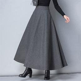 5a3df40a21 Winter Women Long Woolen Skirt Fashion High Waist Basic Wool Skirts Female  Casual Thick Warm Elastic A-Line Maxi Skirts O839 C18110801