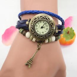 Orange Quartz Pendant NZ - High Quality Fashion Retro Tower Pendant Leather beads watch women men dress quartz wristwatch Watches Girls Gift