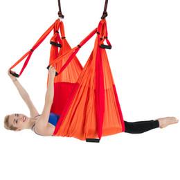 Hamac de yoga aérien renversant chaud 6 poignées aucun renversement élastique gravité double hamac de forme physique de couleur