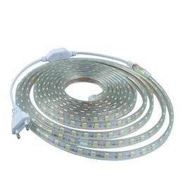 Ac Red Light UK - AC 220V led strip light SMD5050 60leds M IP67 Waterproof Led flexible Tape 1M 2M 3M 4M 5M 6M 7M 8M 9M 10M 15M 20 + Power Plug