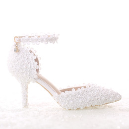 989d6d48c84 2018 New Arrival Pearls White Wedding Shoes 7cm High Heel Bridal Shoes  Custom Made Party Women Shoes For Wedding
