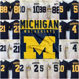 1cef7551b Michigan Wolverines  2 Charles Woodson 4 Jim Harbaugh 5 Jabrill Peppers 10  Tom Brady 21 Desmond Howard 88 Jake Butt NCAA Football Jerseys