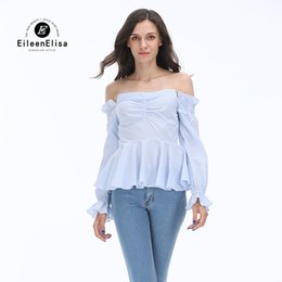 Off Shoulder Blouse Cotton NZ - High Quality Blouses Women 2017 Autumn Casual Long Sleeves Cotton Blue Stripe Shirt Women Sexy Off Shoulder Blouse Fashion