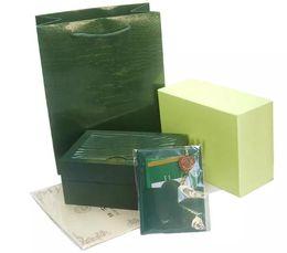 Kostenloser Versand Top Luxusuhr Marke Grün Original Box Papiere Geschenk Uhren Boxen Ledertasche Karte 0,8 KG Für Uhr Box