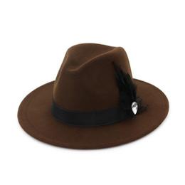 Wide Brim Wool Felt Formal Party Jazz Trilby Fedora Hats Feather Band  Decoration Men Women Floppy Gambler Hat ef547ff68671