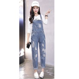 $enCountryForm.capitalKeyWord Canada - Women Ripped Denim Jumpsuit Overalls Hole Casual Fashion Original Regular Spring Blue Rompers Trousers Female