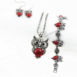 $enCountryForm.capitalKeyWord NZ - RED Owl Necklace BRACELET Earrings Bird Choker Collar jewelry set Fashion Jewelry News Spring Women Girl Gift