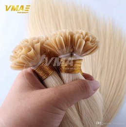 flat fusion human hair extensions 2019 - Blonde Keratin Fusion Flat Tip Hair Extensions Human 1 Set 100Strands 100g Pre bonded Flat Tip Hair Extensions Unprocess