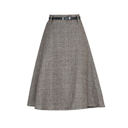 2017 Осень Зима Высокая Талия шерсть плед юбка женщины корейский колена офис a-line юбка тонкий мода серый Faldas Mujer