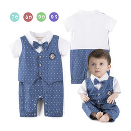 $enCountryForm.capitalKeyWord NZ - Blue Dot Baby Boys Rompers Tuxedo Gentleman Costume Baby Jumpsuits Jacket Vest Cotton Boy Clothes Outfits Newborn Evening Dress Bodysuits