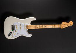 Personalizzato Shop 70's Jimi Hendrix Olympic White St Electric Guitar Gewra Neck Dot Board Dot Inlay, piastra collo speciale collo inciso in Offerta