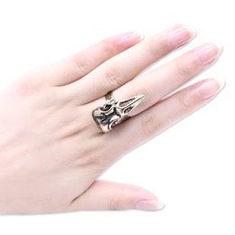 crow jewelry UK - Punk Animal Ring Gothic Bird Skull Ring Steampunk Vintage Gold Jewelry Crow Head Skeleton Rings For Women Men Gift Drop Shipping
