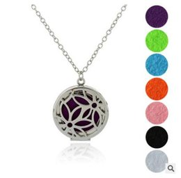 Wholesale 6 new styles Round Silver Ocean magnet locket Stainless Steel Premium Essential Oil Diffuser Necklace With Free chain and Pads