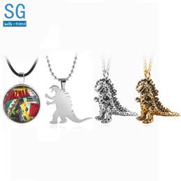 Necklaces Pendants NZ - SG Hot Terror Movie 3D Godzilla Monster Necklaces Pendants Glass Choker Keyring For Women Men Halloween Gift Jewelry