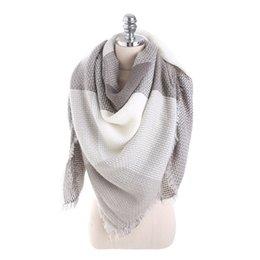 Pashmina blu patchwork sciarpa donne di alta qualità inverno maglia scialli di spessore designer di lusso piazza cucitura plaid sciarpe 21mt Ww