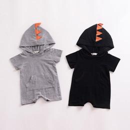 91238d8ea7 INS Baby Boys Girls Romper Cartoon Style Infant Jumpsuit Dinosaur Hooded  Rompers Toddler Bodysuit 2018 Summer Kids Clothing