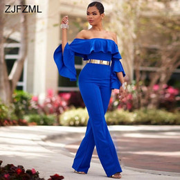flared jumpsuits 2019 - ZJFZML Royal Blue Slash Neck Sexy Party Jumpsuit Women Full Flare Sleeve Ruffles Romper Spring Off The Shoulder Backless