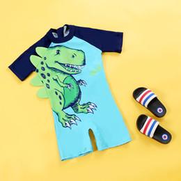 Boy Swimwear Piece Canada - Summer Boys Swimwear One-pieces Swimsuit Baby Boy Clothes Cartoon Printed Beachwear Dinosaur Boys Shorts for 1-10T M114