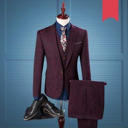$enCountryForm.capitalKeyWord UK - Men 3 Pieces Suit 2018 Wedding Suits For Men Single Breasted Slim Fit Burgundy Charm Gentlema Suit Mens Tuxedo Jacket Wine 979