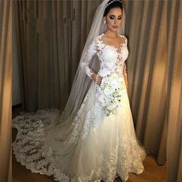 $enCountryForm.capitalKeyWord Canada - Vestidos de Noiva A Line Lace Wedding Dress 2018 See Through Back Sexy Long Sleeves Wedding Dresses Robe De Mariage Bridal Gowns