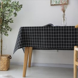 Newly Linen Tablecloth With Black White Grey Grid Table Cloth Art Dinner Table  Cloth Home Decoration Trendy Table Cover For Wedding Party
