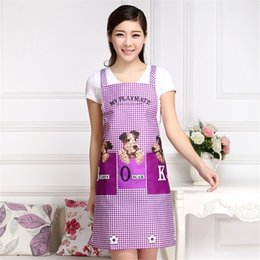 $enCountryForm.capitalKeyWord Australia - Wholesale 100PCS Cute Dogs Checked Pattern 2 Patch Pockets Bib Aprons For Women Kitchen Restaurant Cooking Tools New Hot Sale