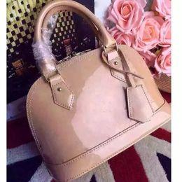 Black shell flower online shopping - Dropshipping ALMA BB shell bag women patent leather flower Embossed shoulder bags with lock crossbody bag handbags