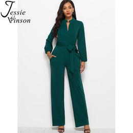 Blue Plus Size Jumpsuit Australia - Jessie Vinson Turtleneck Long Sleeve Wide Leg Jumpsuit Buttons Black Rompers Womens Jumpsuits Plus Size Long Pants Overalls