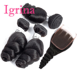 $enCountryForm.capitalKeyWord UK - Igrina Raw Virgin Indian Hair Loose Wave 3 Bundles With 4x4 Lace Closure Good Cheap Weave Unprocessed Wet And Wavy Human Hair Extensions