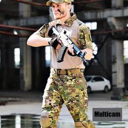 $enCountryForm.capitalKeyWord Australia - Multicam Camouflage T-Shirt Uniform Army Combat Suits Mens Short Sleeve Paintball Uniform with Knee Pads
