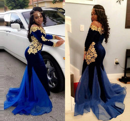 Long taiL t shirts online shopping - Africa Prom Dresses Off Shoulder Long Sleeves Dark Royal Blue And Gold Applique Evening Dresses Special Design Mermaid Tail Party Gowns